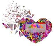 3d übertragen brokken buntes Herz Stockfoto