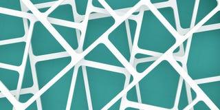 3d übertragen, 3d Illustration, abstrakter Bauhintergrund, Schachbrettmuster auf einem blauen Grün Schnitt von Linien Stockfotos