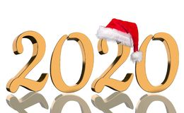 3D übertragen - das Jahr 2020 in den goldenen Zahlen lizenzfreie stockbilder