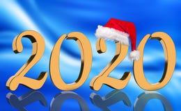 3D übertragen - das Jahr 2020 in den goldenen Zahlen mit einer roten Santa Claus-Kappe lizenzfreie stockfotos