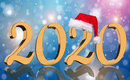 3D übertragen - das Jahr 2020 in den goldenen Zahlen mit einer roten Santa Claus-Kappe stockbild