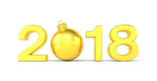 3d übertragen - 2018 in den Buchstaben mit einem goldenen Weihnachtsball als null Stockbilder