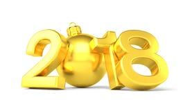 3d übertragen - 2018 in den Buchstaben mit einem goldenen Weihnachtsball als null Stockfoto