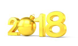 3d übertragen - 2018 in den Buchstaben mit einem goldenen Weihnachtsball als null Lizenzfreies Stockbild