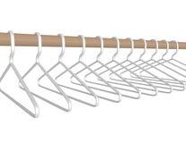 3d übertragen die Plastikaufhänger, die an einem Rod hängen Stockbild
