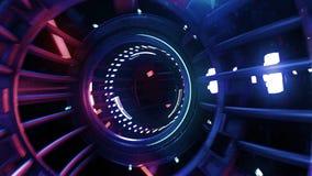 3d übertragen digitale Tunnelneonzusammenfassung VJ lizenzfreie stockfotos