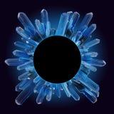 3d übertragen, extrahieren runden Kristallrahmen, Kreis, moderner Edelstein auf schwarzem Hintergrund, blaues Nugget vektor abbildung