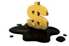 3d übertragen, fixiertes Dollarzeichen und Öl Lizenzfreies Stockbild