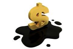 3d übertragen, fixiertes Dollarzeichen und Öl Lizenzfreie Stockbilder
