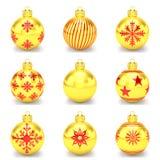 3d übertragen - golden vom roten Weihnachtsflitter über weißem Hintergrund Lizenzfreies Stockfoto