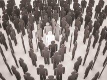 3d übertragen, Gruppe von Personen mit einzigartigem in der Mitte Lizenzfreie Stockfotos
