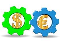 3D übertragen Illustration des Systems mit zwei Gangrädern mit Dollar- und Eurozeichen, Foto auf Lager lizenzfreie abbildung