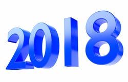 2018 3D übertragen im Blau, lokalisiert auf weißem Hintergrund und mit Beschneidungspfad Lizenzfreies Stockbild