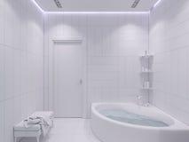 3d übertragen Innenarchitektur eines Badezimmers Stockbilder