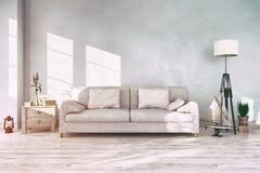 3d übertragen - Innenraum des skandinavischen Wohnzimmers - Retro- Blick Lizenzfreie Stockfotos