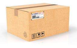 3d übertragen Kreativer abstrakter Versand, Logistik und Kleinpaketwarenlieferungs-Handelsgeschäftskonzept: gewölbtes cardboar lizenzfreie abbildung