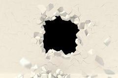 3d übertragen Kreatives Hintergrundkonzept: Zerstörung einer Wand stock abbildung