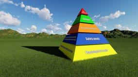 3D übertragen Maslow-` s Hierarchie des Bedarfs Stockfotografie