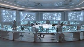 3D übertragen, moderner, futuristischer Kommandozentraleinnenraum mit Leuten lizenzfreie stockbilder
