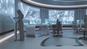 3D übertragen, moderner, futuristischer Kommandozentraleinnenraum mit Leuten stockfotos