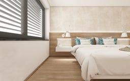 3d übertragen modernes Schlafzimmer Stockfotos