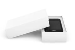 3d übertragen Smartphone mit Kasten Stockfoto