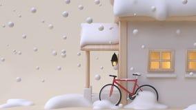 3d übertragen Spielzeug-Karikaturart des abstrakten Hauses hölzerne mit minimalem backgr Creme des roten des Fahrradfensters des  stock abbildung