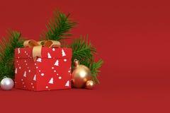 3d übertragen Szenengeschenkbox-Goldballband des abstrakten Weihnachtshintergrundes rotes vektor abbildung