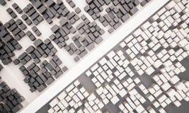 3d übertragen, Vogelperspektive der Kontraststadt mit Straße Lizenzfreies Stockfoto