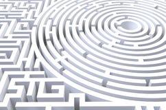 3d übertragen vom abstrakten weißen Hintergrund des Kreislabyrinths vektor abbildung