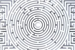 3d übertragen vom abstrakten weißen Hintergrund des Kreislabyrinths lizenzfreie abbildung