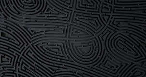 3d übertragen vom abstrakten weißen Hintergrund des schwierigen schwarzen Labyrinths lizenzfreie abbildung