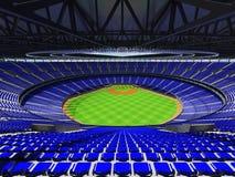 3D übertragen vom Baseballstadion mit blauen Sitzen und Promi-Kästen Stockfoto