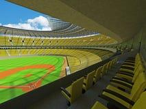 3D übertragen vom Baseballstadion mit gelben Sitzen und Promi-Kästen Stockbilder