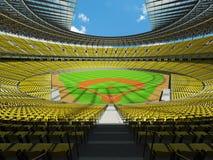 3D übertragen vom Baseballstadion mit gelben Sitzen und Promi-Kästen Lizenzfreies Stockfoto