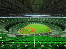 3D übertragen vom Baseballstadion mit grünen Sitzen und Promi-Kästen Stockfotografie