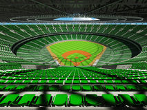 3D übertragen vom Baseballstadion mit grünen Sitzen und Promi-Kästen Lizenzfreie Stockfotos