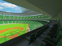 3D übertragen vom Baseballstadion mit grünen Sitzen und Promi-Kästen Stockfotos