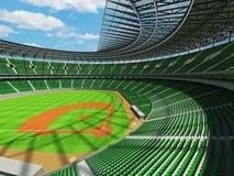 3D übertragen vom Baseballstadion mit grünen Sitzen und Promi-Kästen Stockbilder