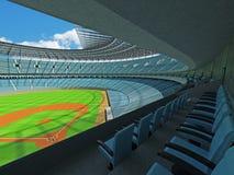 3D übertragen vom Baseballstadion mit Himmelblausitzen und Promi-Kästen Lizenzfreie Stockbilder