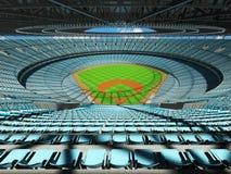 3D übertragen vom Baseballstadion mit Himmelblausitzen und Promi-Kästen Stockbild