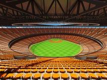 3D übertragen vom Baseballstadion mit orange Sitzen und Promi-Kästen Lizenzfreie Stockfotos