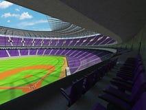 3D übertragen vom Baseballstadion mit purpurroten Sitzen und Promi-Kästen Stockbild