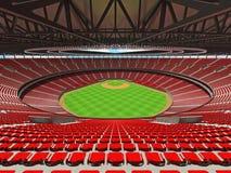 3D übertragen vom Baseballstadion mit roten Sitzen und Promi-Kästen Lizenzfreie Stockbilder