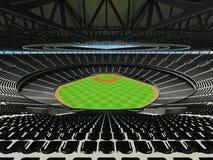 3D übertragen vom Baseballstadion mit schwarzen Sitzen und Promi-Kästen Stockbilder