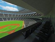 3D übertragen vom Baseballstadion mit schwarzen Sitzen und Promi-Kästen Stockbild