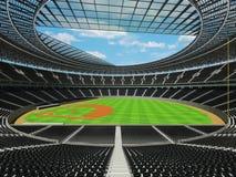3D übertragen vom Baseballstadion mit schwarzen Sitzen und Promi-Kästen Stockfotografie