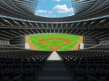 3D übertragen vom Baseballstadion mit schwarzen Sitzen und Promi-Kästen Lizenzfreies Stockbild