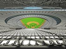 3D übertragen vom Baseballstadion mit weißen Sitzen und Promi-Kästen Lizenzfreie Stockfotos