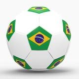 3D übertragen vom Fußball mit Flaggen lizenzfreie stockbilder